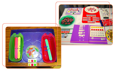 Photo of activity games displayed on seperate tables