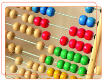 Photo of coloured beads on an abacus