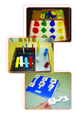 Three photos of childrens classroom toys. Coloured blocks, Paint set and wordcards.